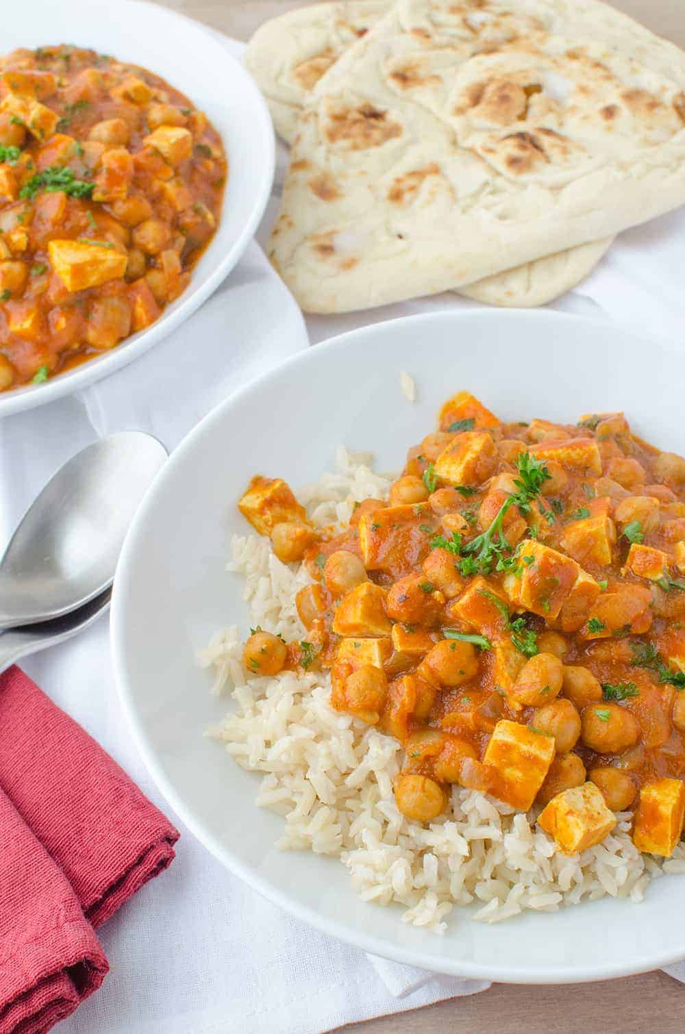 Slow Cooker Butter Chickpeas and Tofu!