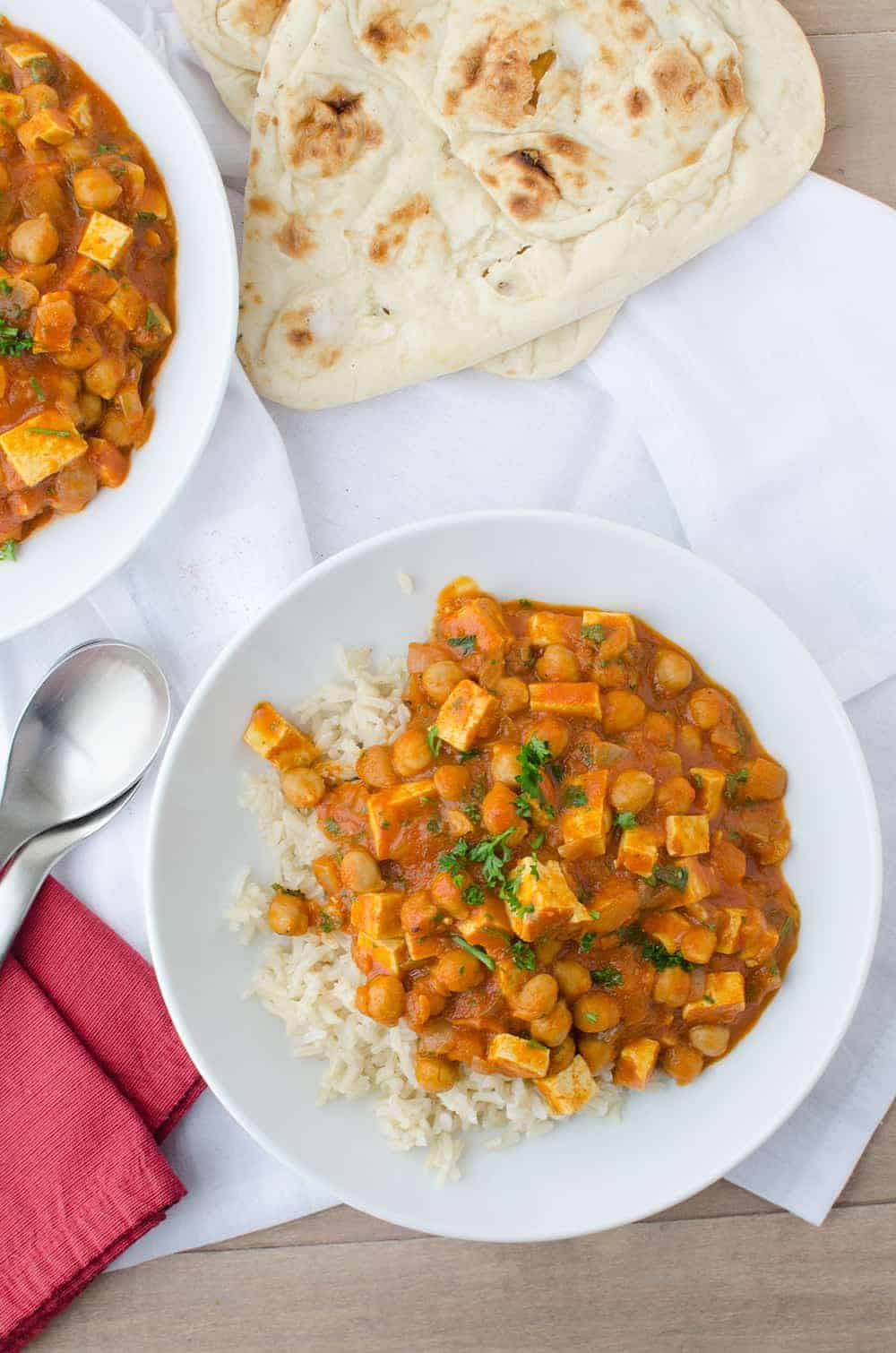 Slow Cooker Butter Chickpeas served on rice with naan
