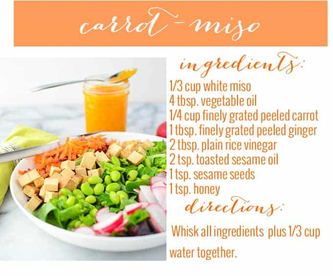 4 low-fat salad dressings. Carrot Miso, Dilly Ranch, Spicy-Herb, and Curry Hummus