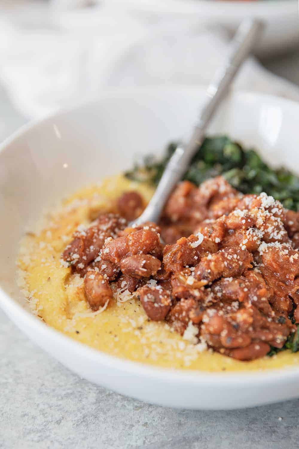 vegan chili beans with polenta