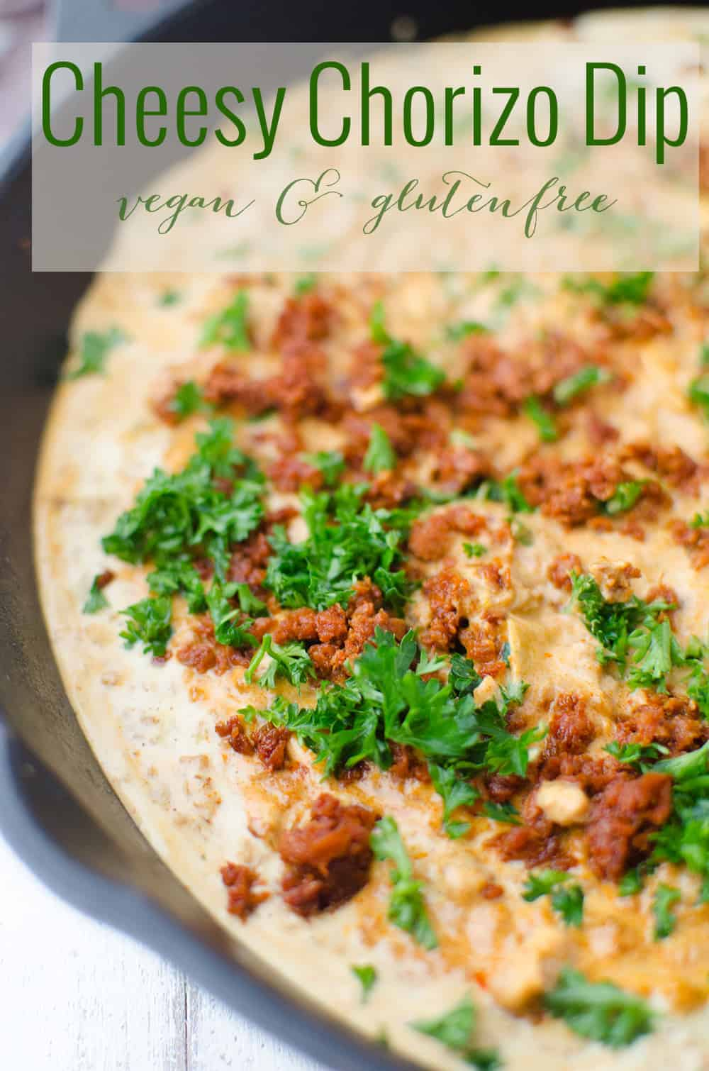 Cheesy Chorizo Dip! Vegan and Gluten Free. This is one dip you will wanna make again and again. Pepper Jack Cheese Dip with spicy meatless chorizo and fresh parsley. | www.delishknowledge.com