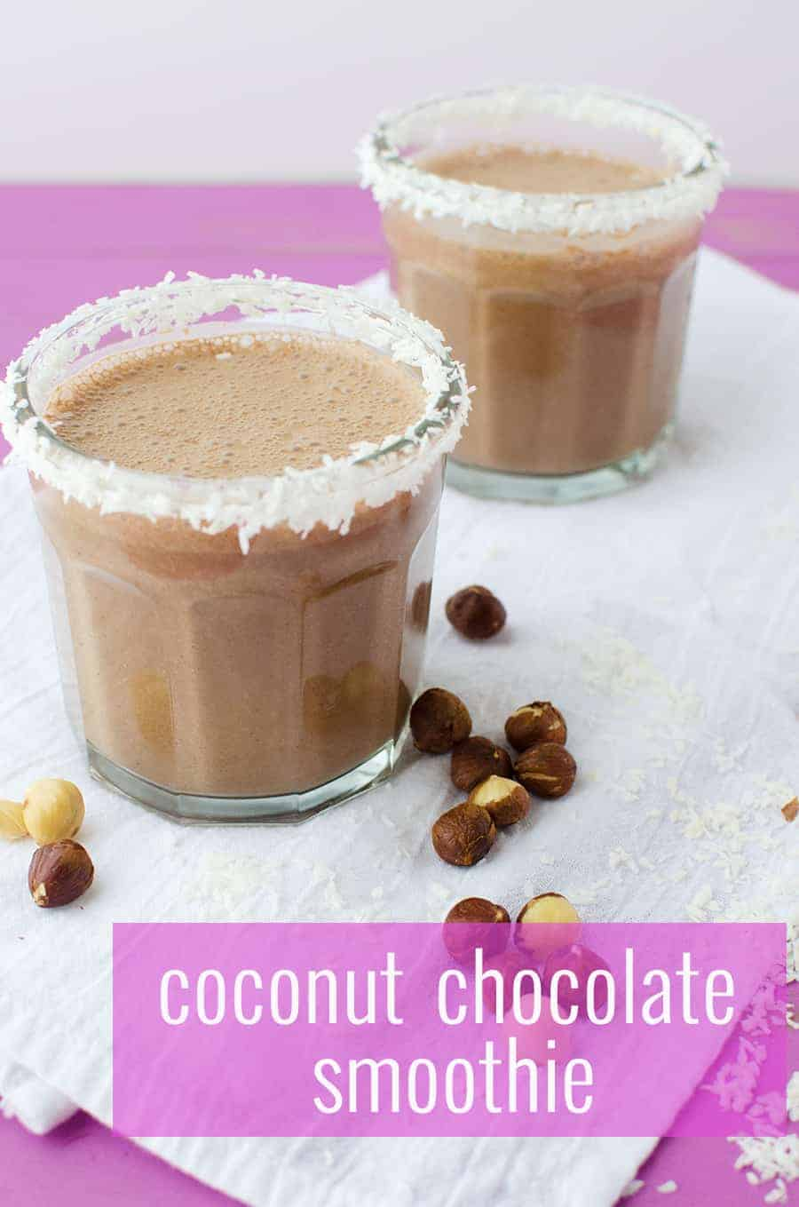 Coconut Chocolate Smoothie! Tastes like a Nutella milkshake- without the dairy! Vegan, gluten-free and naturally sweetened. | www.delishknowledge.com