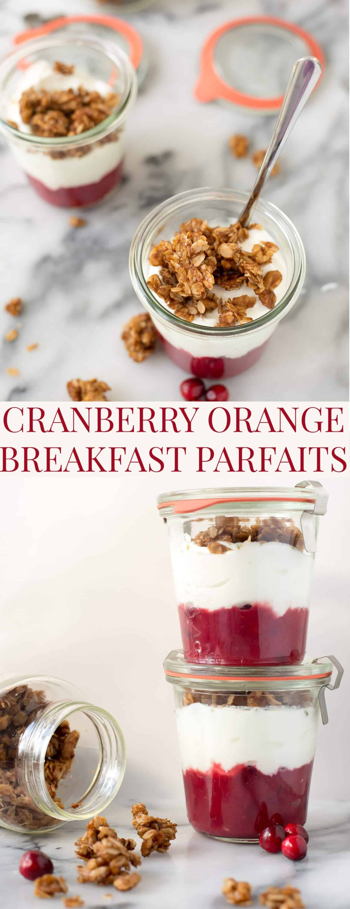 Cranberry Breakfast Parfaits! Layers of cranberry orange compote, greek yogurt and homemade spiced granola. Super easy and perfect for busy weekdays. | www.delishknowledge.com