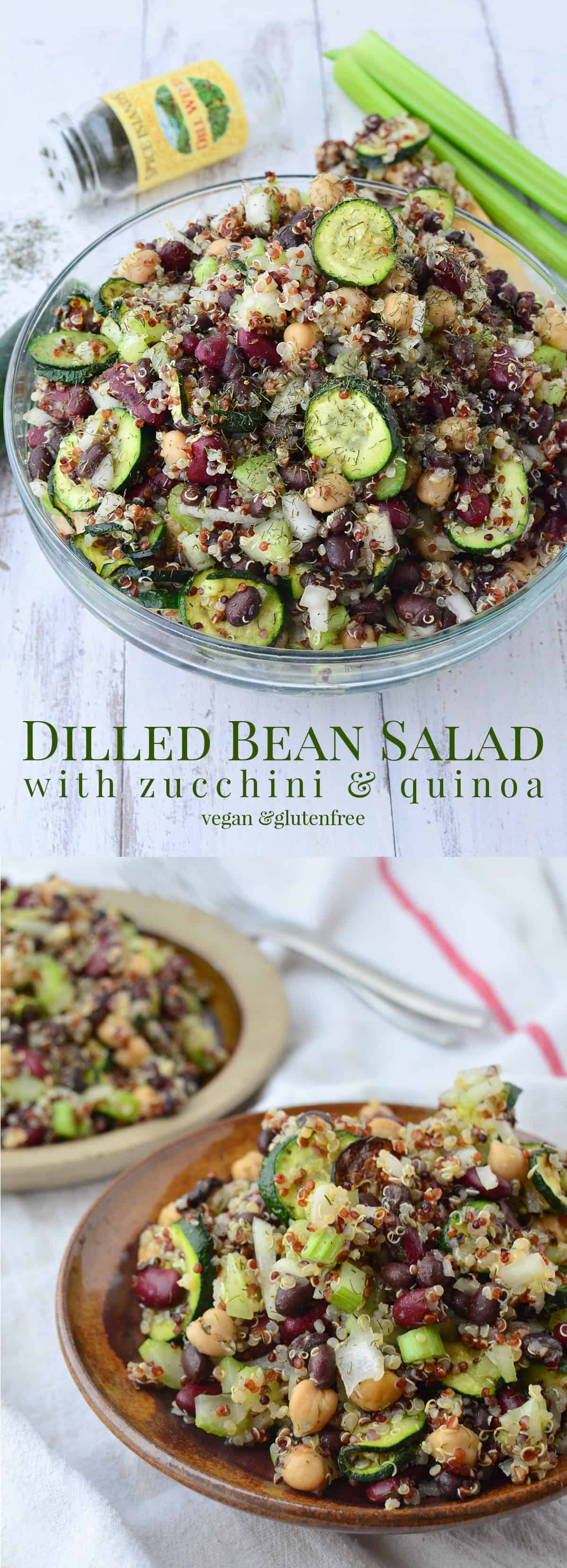 Perfect salad for your next cookout! Dilled Bean Salad with Zucchini and Quinoa! #vegan and #glutenfree   www.delishknowledge.com
