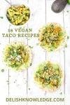 vegan taco recipes Pinterest graphic