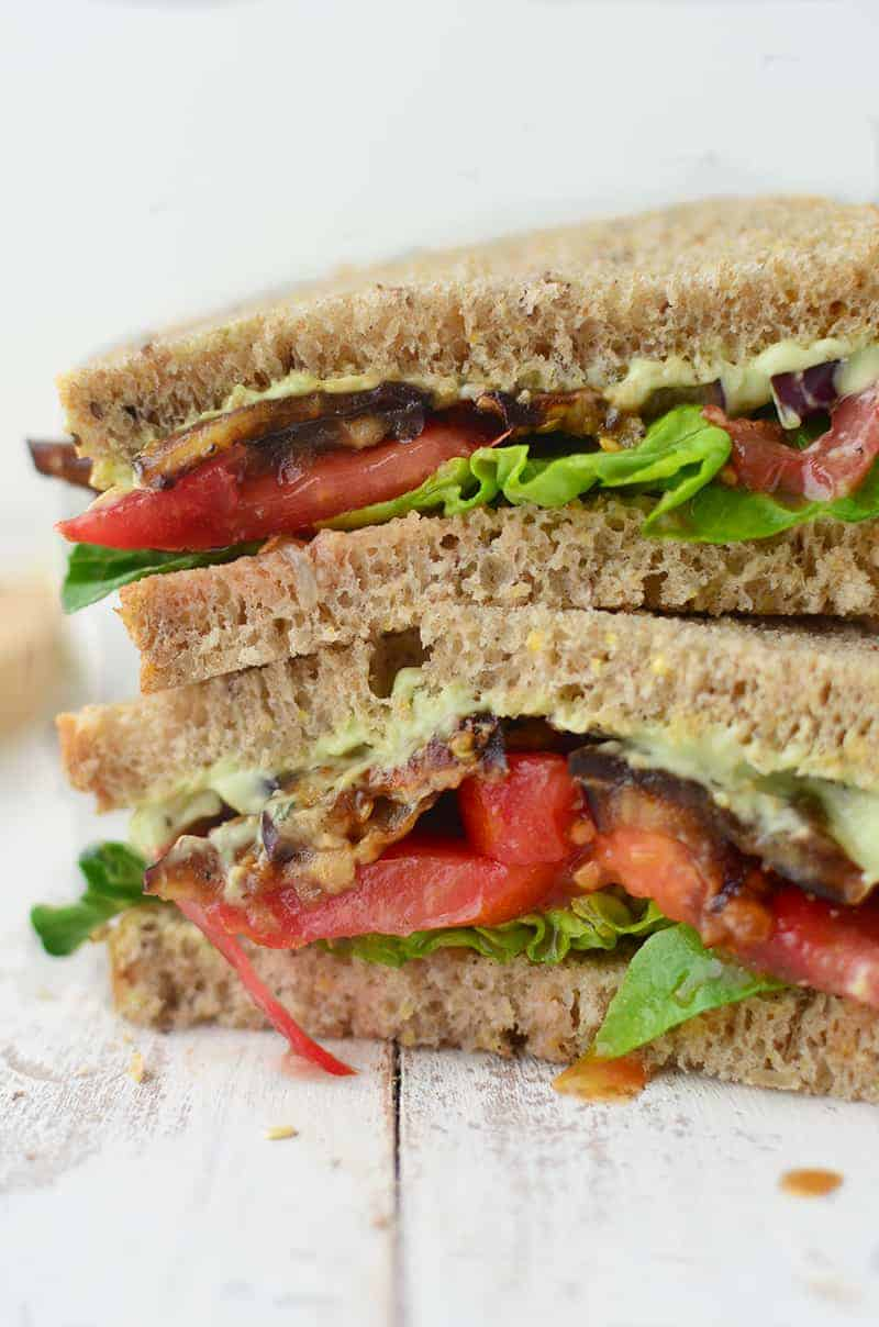 Eggplant Bacon BLT! These vegan BLTs are made with homemade eggplant bacon and an avocado cream sauce! #vegan #vegetarian   www.delishknowledge.com