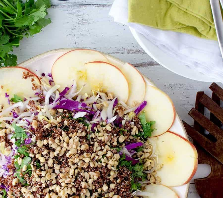 Winter Slaw! So, so good! Cabbage, Endive, Apples, Parsley, Walnut and Quinoa is a lemony-tahini sauce. Such a healthy side dish or main   www.delishknowledge.com