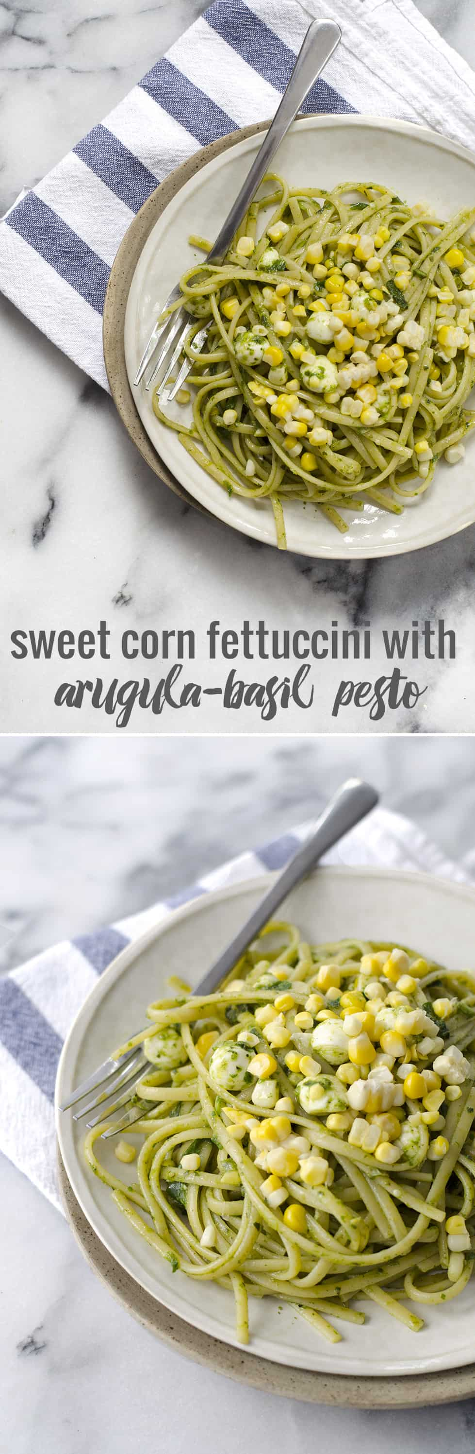Fettuccini with Arugula Pesto and Sweet Corn- the perfect pasta for summer! Ready in just 20 minutes! Vegetarian, easily vegan. | www.delishknowledge.com