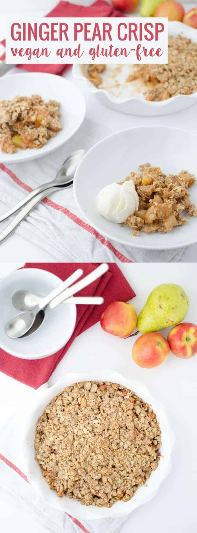 Ginger Apple Pear Crisp! You've gotta try this vegan and gluten-free dessert, perfect for Fall. | www.delishknowledge.com