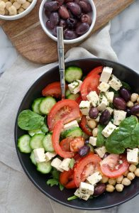 Vegan Greek Salad with Tofu Feta! The best salad for summer; packed with protein and fiber. A must make! Vegan & Gluten-Free. | www.delishknowledge.com