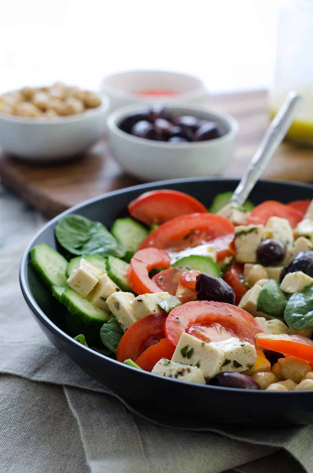 Vegan Greek Salad with Tofu Feta, olives and tomatoes