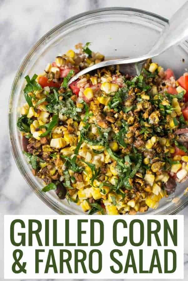 grilled corn farro salad