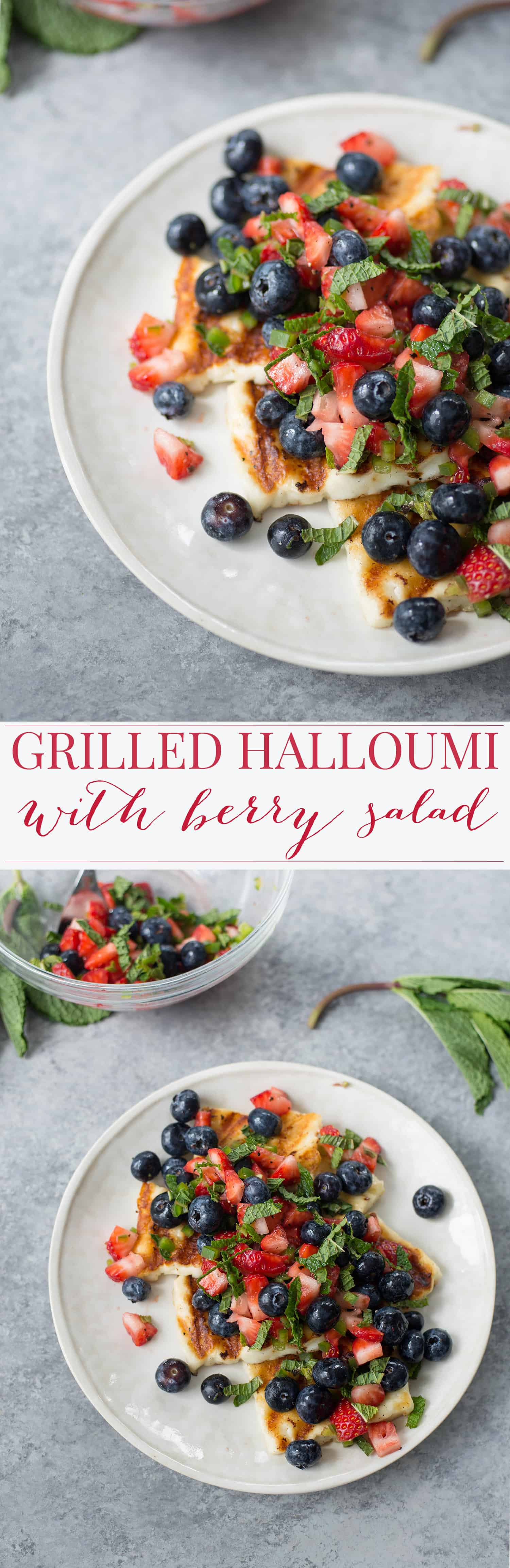 Grilled Halloumi Salad with Mixed Berry Salad. Grilled slices of halloumi cheese topped with a fresh mint and berry salad. Vegetarian & Gluten-Free | www.delishknowledge.com