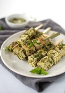 Grilled Tofu Kebobs with Mint Pesto! A healthy and easy main dish for summer. Vegetarian and Gluten-Free. | www.delishknowledge.com