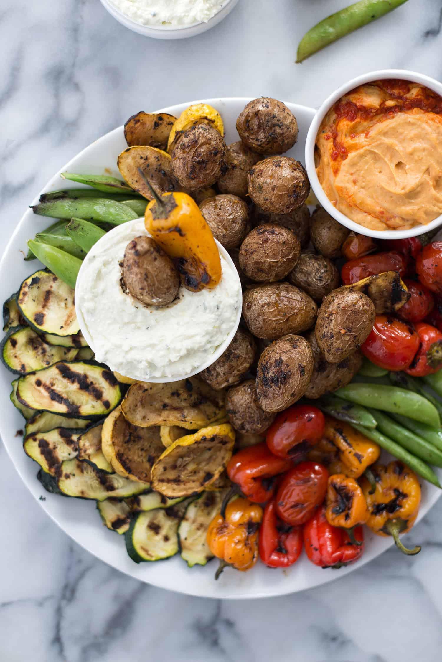 Grilled Vegetable Platter With Lemon Feta Dip Delish Knowledge