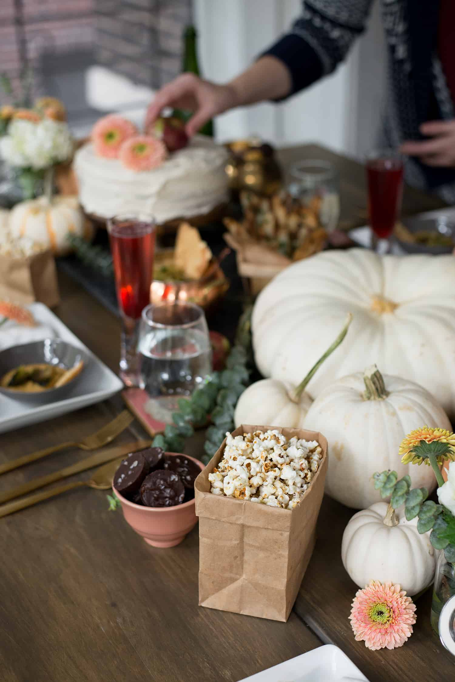 Healthy Halloween Party! Crostini three ways, vegan caramel apples, pumpkin spice cake, pomegranate bellinis, coconut kettle corn and more. A must save for Halloween entertaining! | www.delishknowledge.com