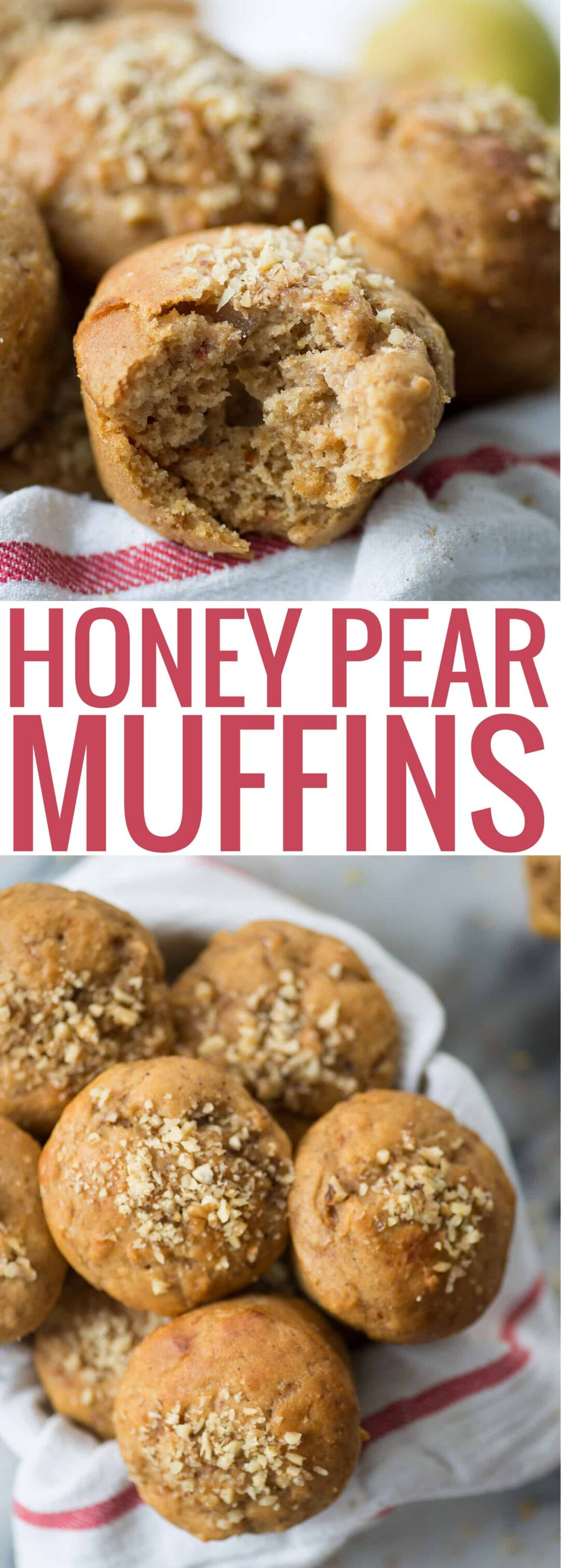 Honey Pear Muffins! These lightly sweetened muffins are perfect for snack or breakfast. | www.delishknowledge.com