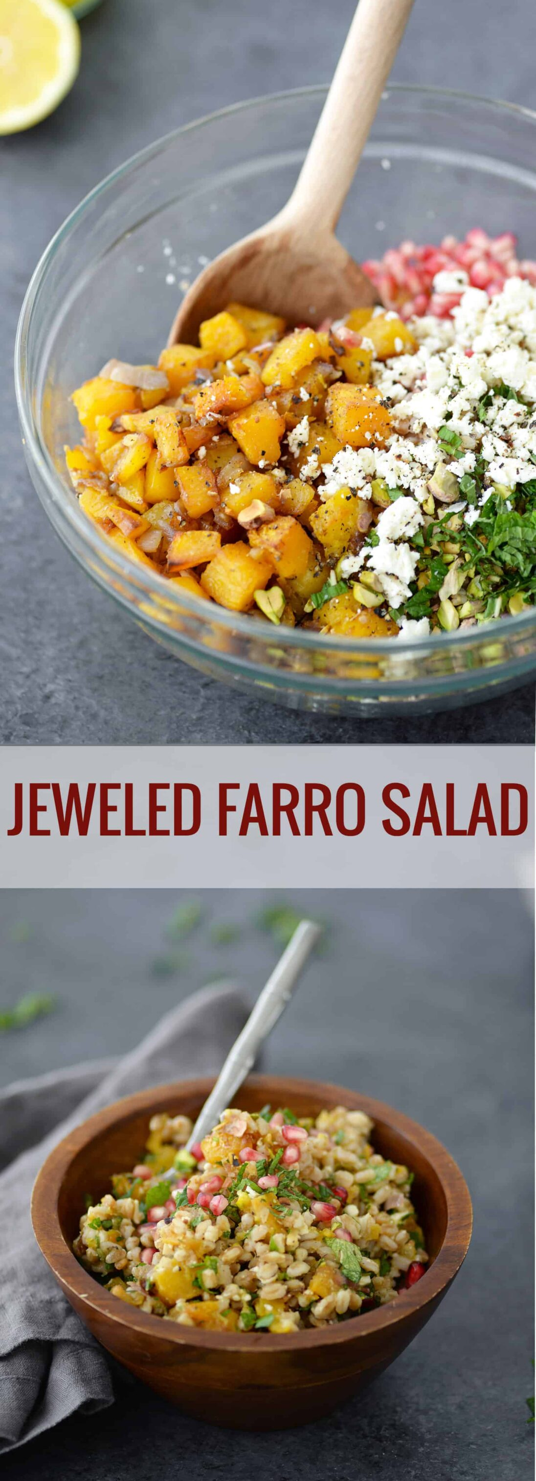 Jeweled Farro Salad! You've gotta try this salad for Thanksgiving or Christmas. Roasted butternut squash, pistachios, pomegranate seeds, farro, mint and parsley in a lemon dressing. SO good! | www.delishknowledge.com