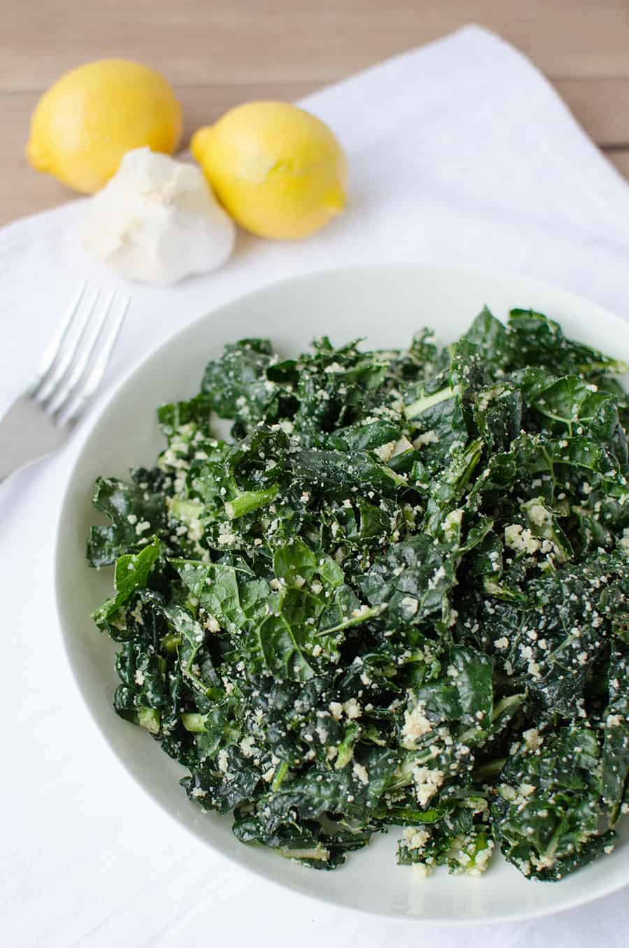 Kale Caesar Salad! This is my favorite way to eat kale. So delicious and healthy! | www.delishknowledge.com