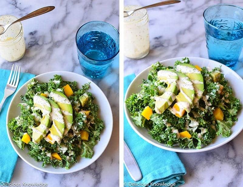 kale & mango poppyseed salad