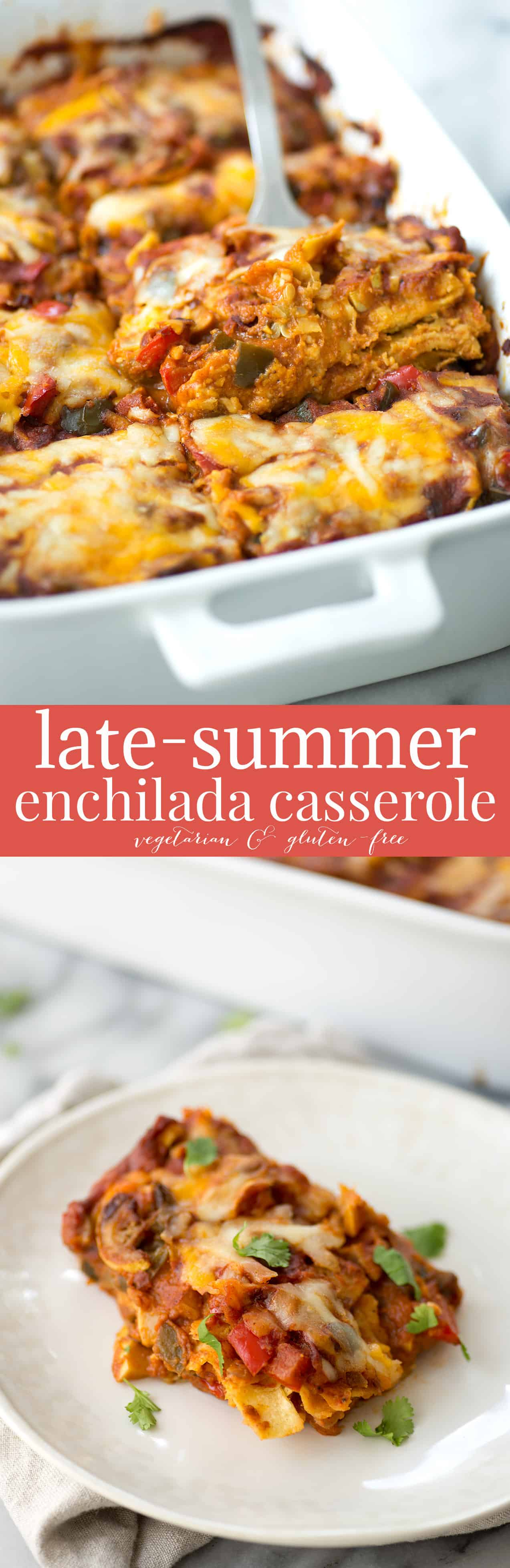 Late-Summer Vegetarian Enchilada Casserole. Layers of corn tortillas, homemade enchilada sauce, peppers, squash and cheese. Vegetarian & Gluten-Free | www.delishknowledge.com