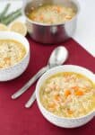 Lemon Orzo Chickpea Soup! The vegan version of chicken noodle. Healthy, comforting, with a refreshing lemon twist!