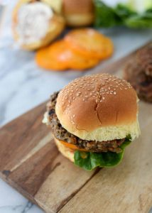 Za'tar Lentil and Mushroom Vegetable Burgers! Spiced, protein packed burgers. Perfect for summer. | www.delishknowledge.com