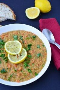Lentil Lemon Soup! THE best soup- and made for just pennies! Red lentils, vegetables, and fresh lemon juice! Gluten-Free & Vegan | www.delishknowledge.com