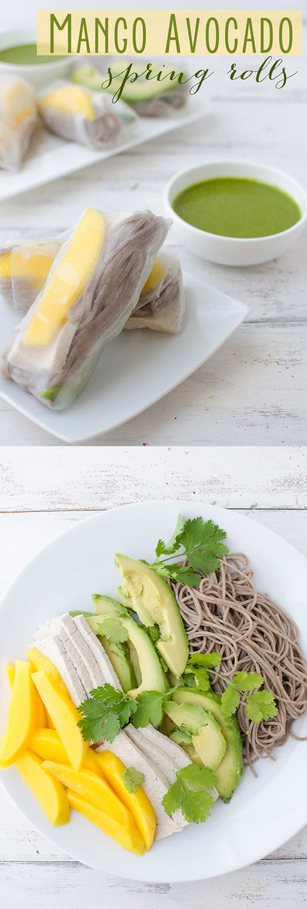 Mango and Avocado Spring Rolls! So easy and packed with nutrition: juicy mango, creamy avocado, buckwheat noodles and tofu. Served with a spicy cilantro dipping sauce. #vegan #vegetarian | www.delishknowledge.com