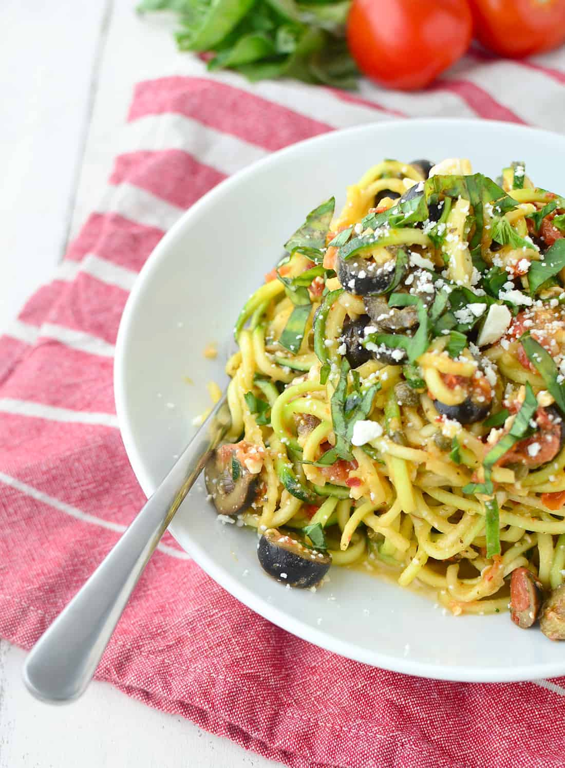 Mediterranean Zucchini Noodles! You are going to love these easy, low-carb noodles. #zoodles #healthy #vegetarian | www.delishknowledge.com