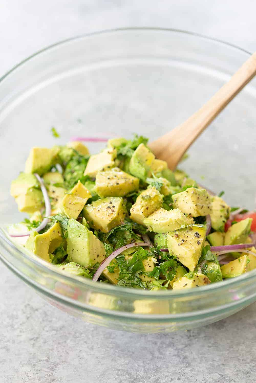 vegan no cook dinner of avocado salad