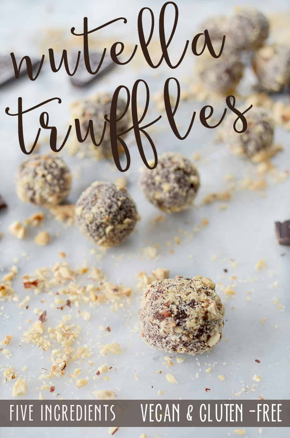 Nutella Truffles! Healthy truffles made with only 5 ingredients! Vegan, glutenfree and naturally sweetened. You've gotta make these!   www.delishknowledge.com