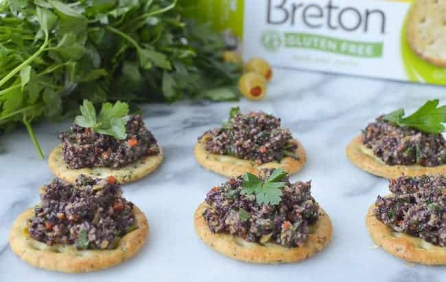 olive gremolata with gluten free crackers