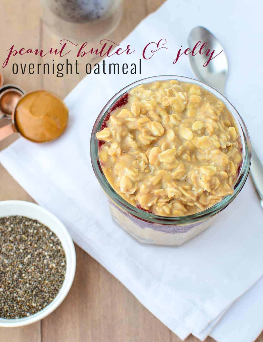 PB and J Overnight Oats! Whipped peanut butter and banana oats layered with grape chia filling! A heart healthy breakfast filled with soluble fiber and omega-3 fatty acids. | www.delishknowledge.com
