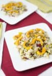 Fall Salad! Healthy, vegan. Israeli couscous tossed with roasted delicata squash, cranberries, pistachios, and pear. Maple Apple Dressing!