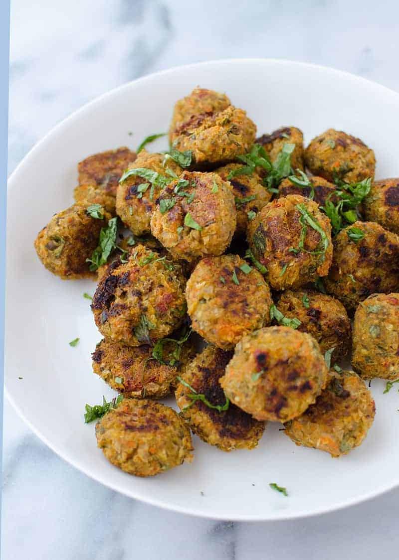 a bowl of homemade mushroom meatballs