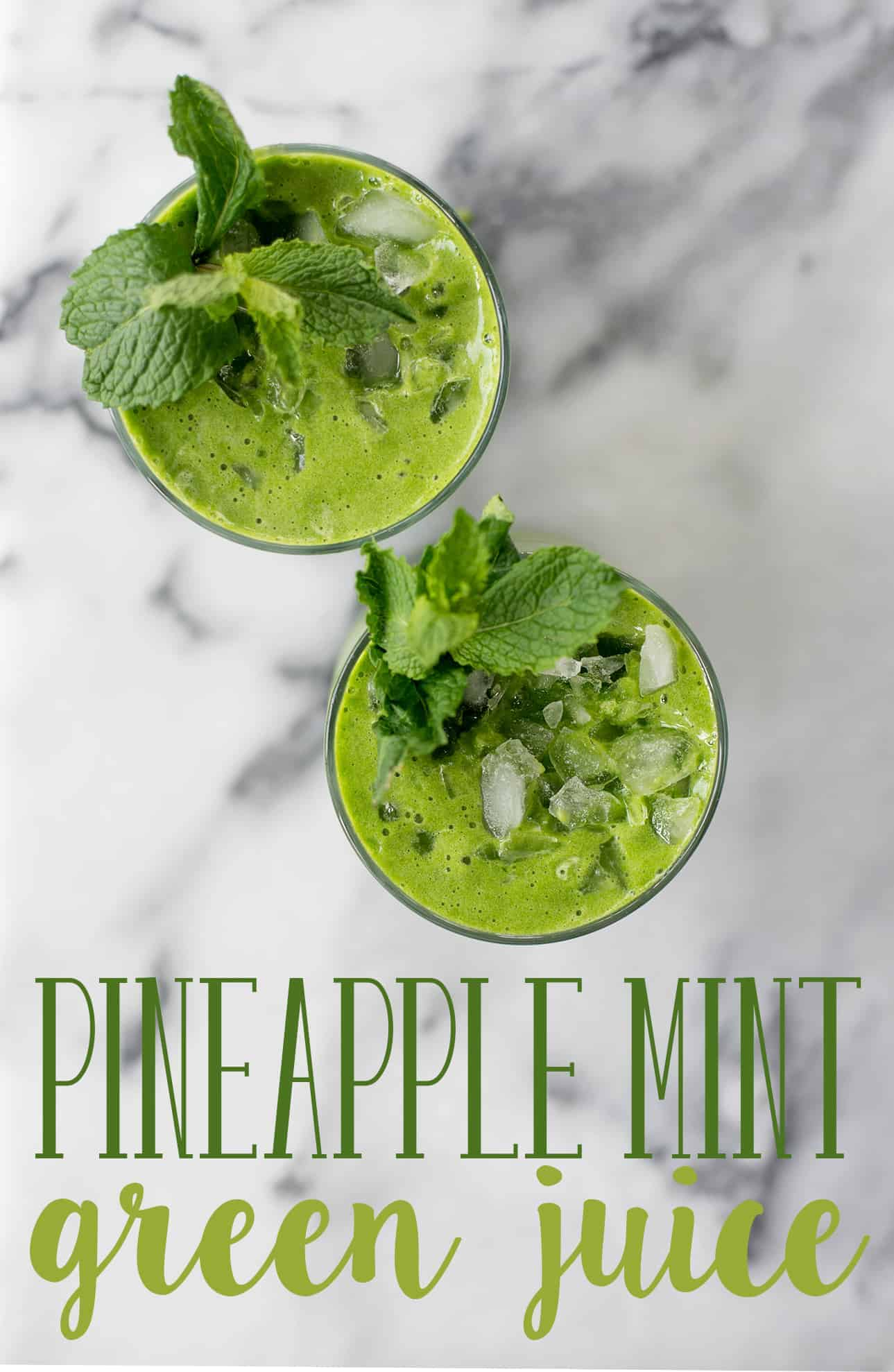 Pineapple Mint Green Drink! Tastes like a pineapple mojito. Mint, kale, pineapple and lime, a refreshing juice for Spring and Summer. Vegan and Gluten-Free. | delishknowledge.com