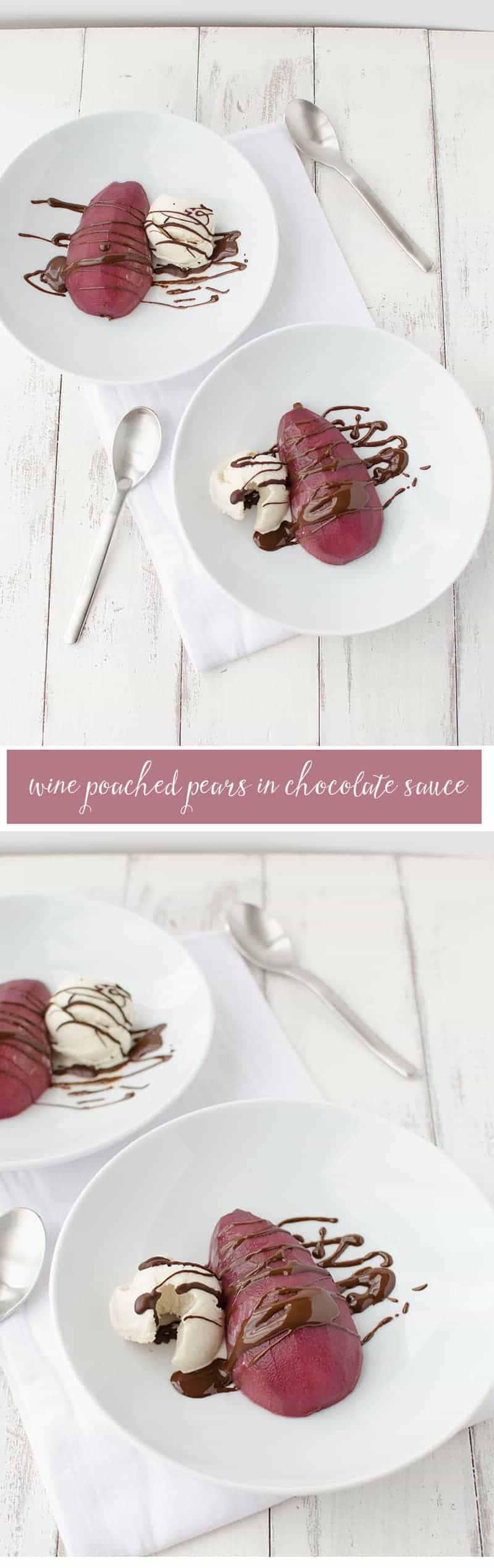 Wine Poached Pears in Chocolate Sauce! The perfect healthy recipe for fall! Gluten-free, vegan, and low-fat! | www.delishknowledge.com