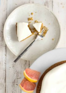 Polenta Orange Brunch Cake! Lightly sweetened (with fruit juice and Stevia) and perfect for brunch or afternoon snack! Slightly savory, this cake is the perfect pairing with a cup of tea.