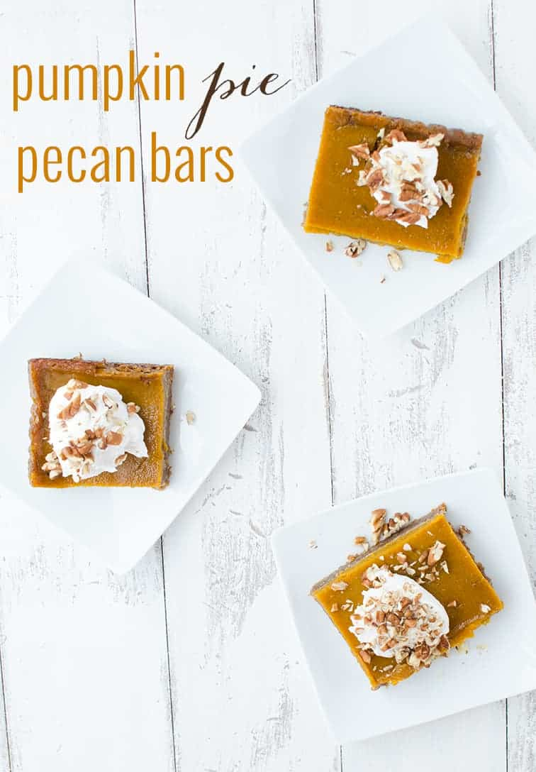 Vegan & Gluten-Free Pumpkin Pie Pecan Bars! Now you don't have to choose between pies! Topped with Cinnamon-Vanilla Coconut Cream. | www.delishknowledge.com