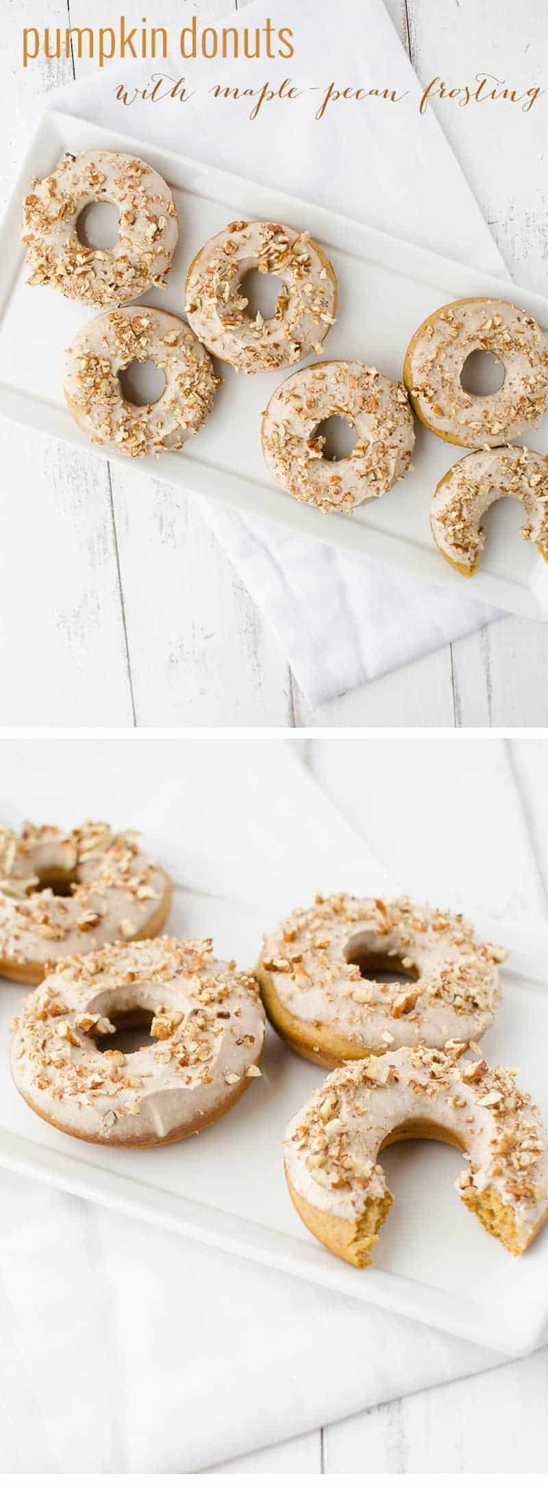Pumpkin Donuts with Maple-Pecan Frosting! A healthy take on donuts! Save this one for company this fall! | www.delishknowledge.com