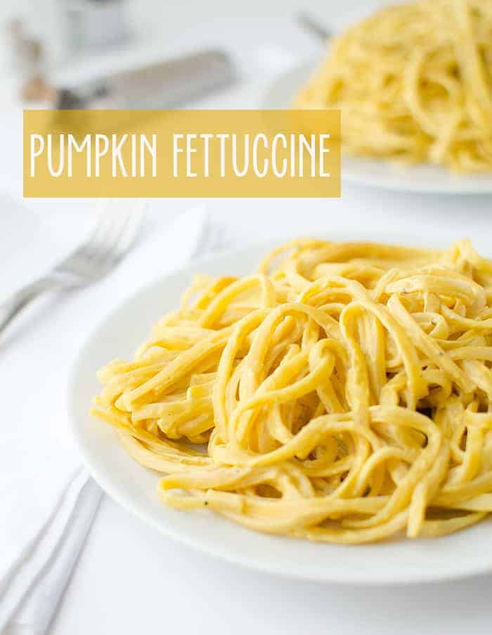 Vegan Pumpkin Fettuccini! Yes, alfredo sauce can be healthy! Made with a secret ingredient, this sauce is creamy, slightly sweet with a hint of nutmeg and sage. You will never go back to regular alfredo sauce again!