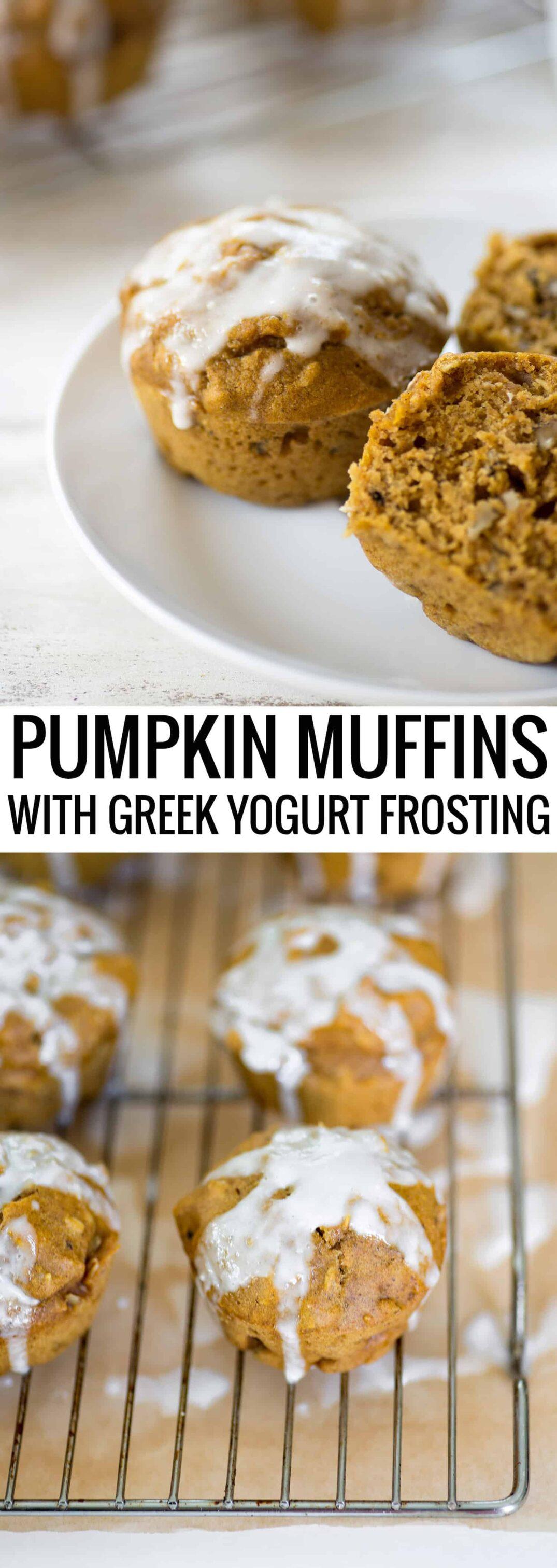 Pumpkin Muffins with Greek Yogurt Frosting! You've gotta try these healthy, low-fat muffins covered in a greek yogurt glaze. #vegetarian #baking #pumpkin #muffins | www.delishknowledge.com