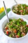 Quinoa Tabbouleh Salad! This healthy, gluten-free salad is perfect for summer! Packed with vegetables, herbs and a lemon dressing. You've gotta try this! #vegan #glutenfree #healthy #salad | www.delishknowledge.com