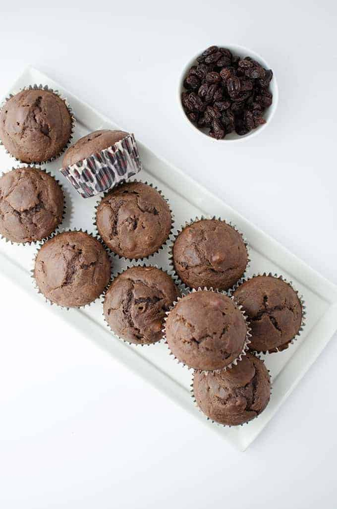 Chocolate Raisin Muffins! Healthy & sweetened naturally with raisins and maple syrup. Perfect after school snack!