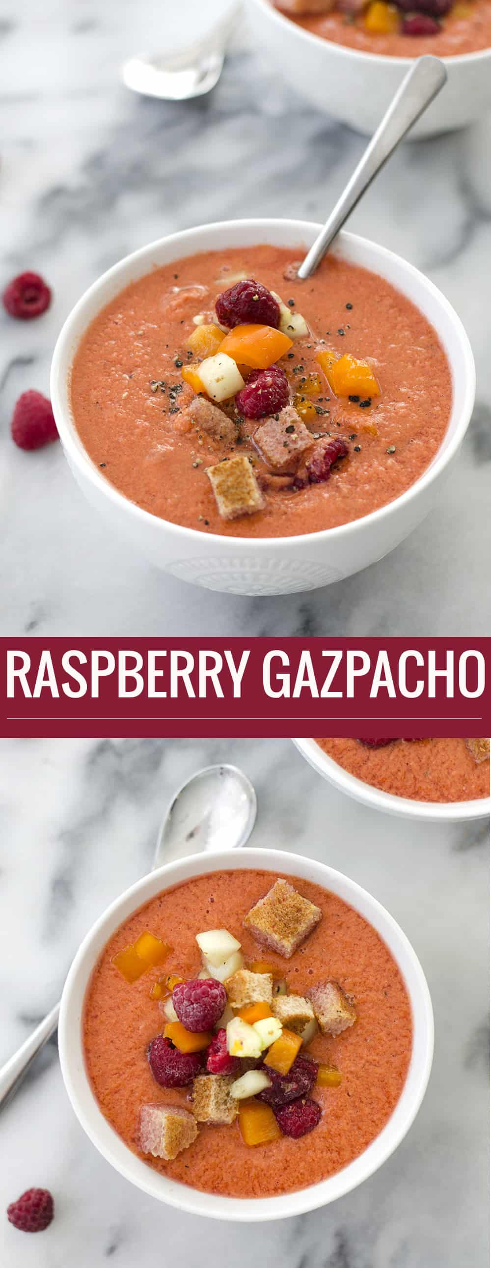 Vegan Raspberry Gazpacho! The perfect summer soup recipe. Frozen raspberries, peppers and spices blended together for a refreshing summer soup. | Vegan | delishknowledge.com