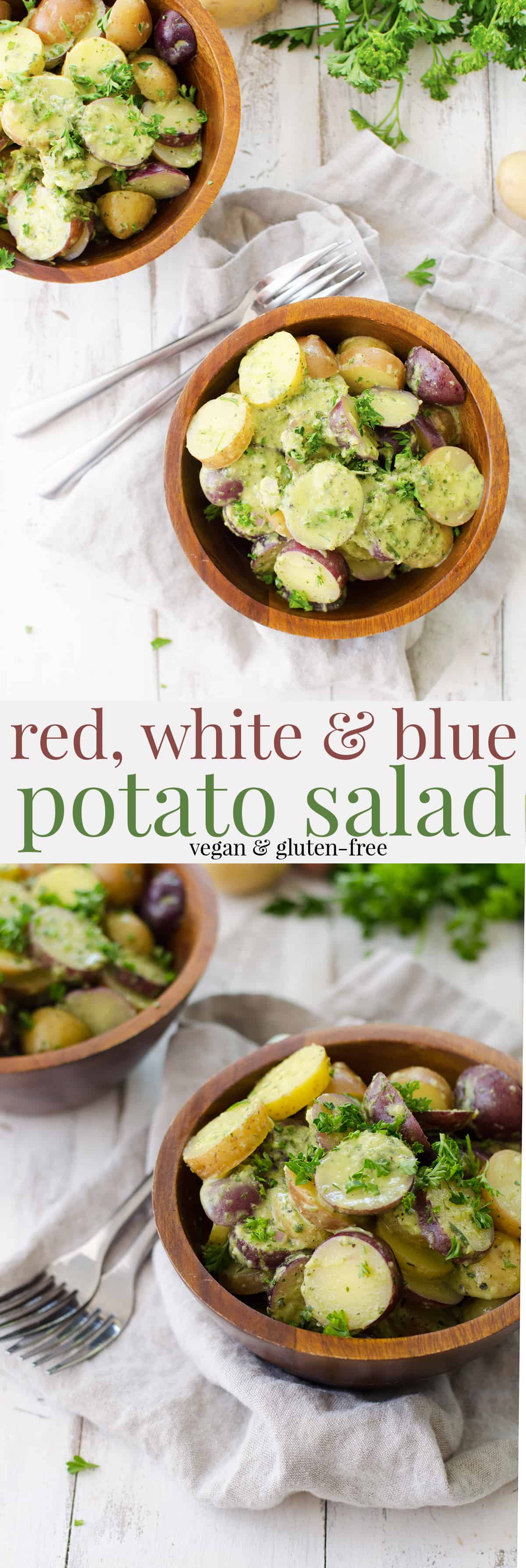 Red, White and Blue Potato Salad! Ready in just 15 minutes! Vegan and Gluten-Free. Little creamer potatoes tossed in a tangy herb dressing. Perfect for summer BBQs, Picnics and Cookouts! | www.delishknowledge.com