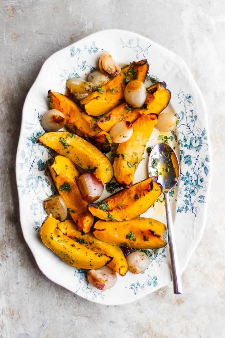 Roasted Acorn Squash with Shallots + Parsley Oil