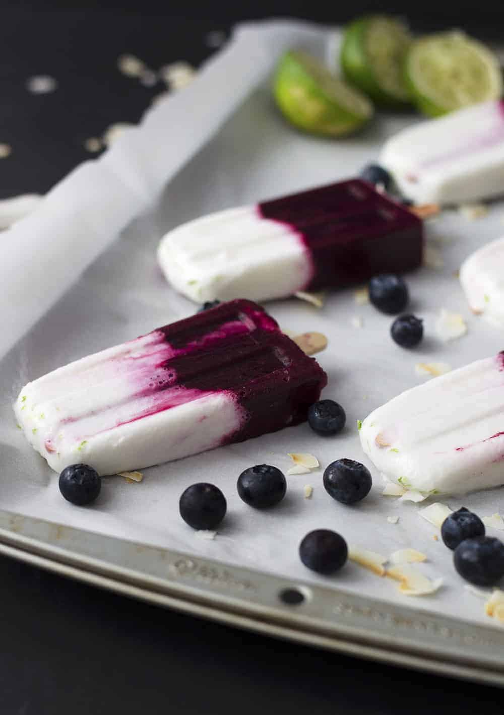 The blueberry and coconut colours work very well together for these popsicles