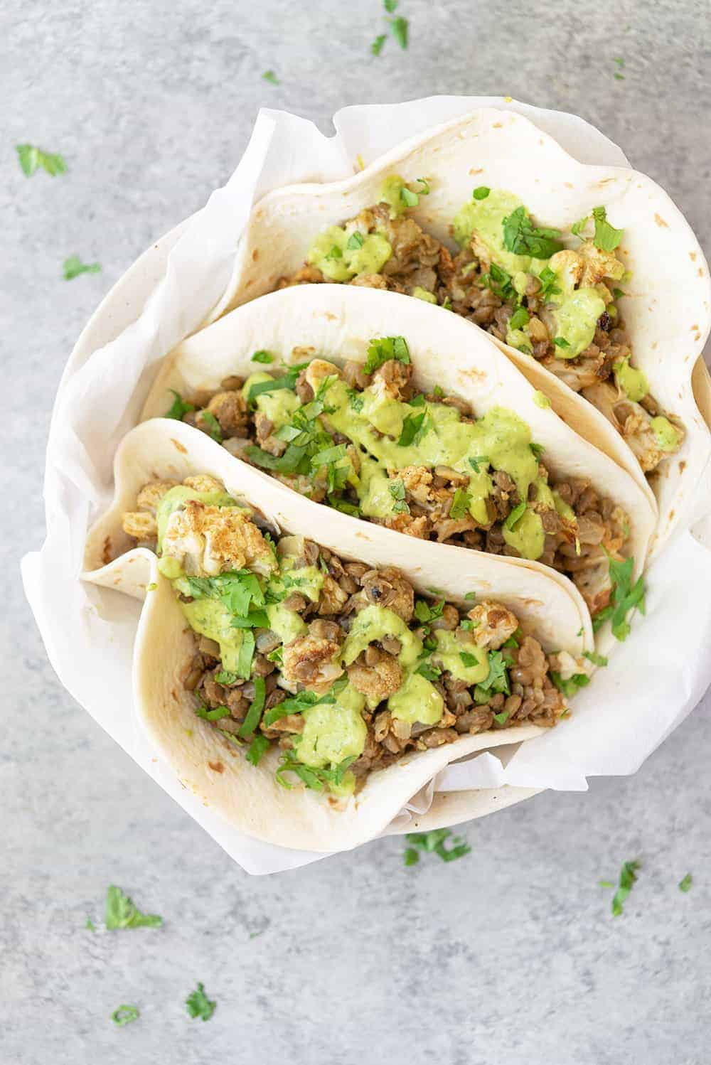 lentil tacos with roasted cauliflower